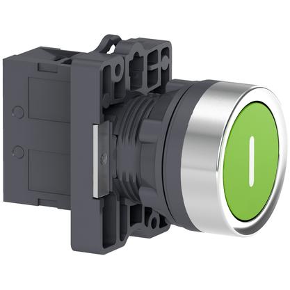 Botão 22mm Plástico a Impulsão com Gravação I 1NA Verde - XA2EA3311 - Schneider-Electric