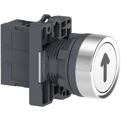 Botão 22mm Plástico a Impulsão com Gravação SETA 1NA Branco - XA2EA3341 - Schneider-Electric
