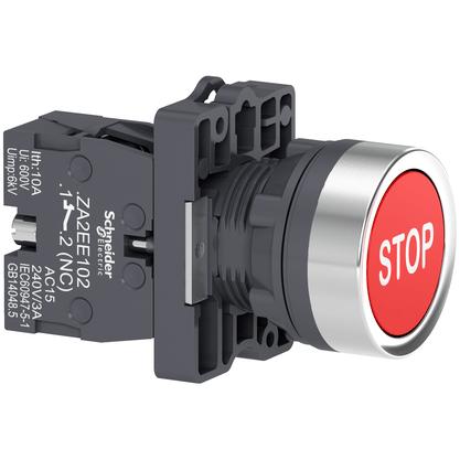 Botão 22mm Plástico a Impulsão com Gravação STOP 1NF Vermelho - XA2EA4342 - Schneider-Electric