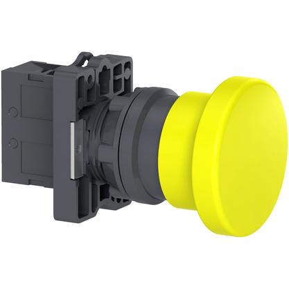 Botão 22mm Plástico Soco a Impulsão D40mm 1NA Amarelo - XA2EC51 - Schneider-Electric