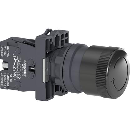 Botão 22mm Plástico Soco Emergência D30mm Girar Preto 1NF - XA2ES422 - Schneider-Electric