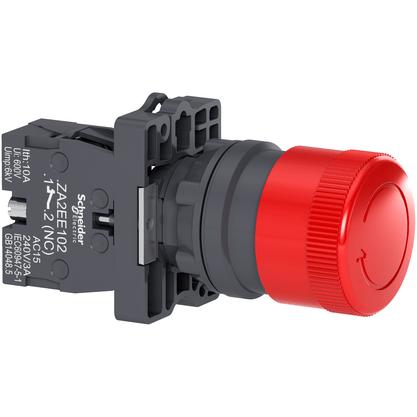 Botão 22mm Plástico Soco Emergência D30mm Girar Vermelho 1NF - XA2ES442 - Schneider-Electric