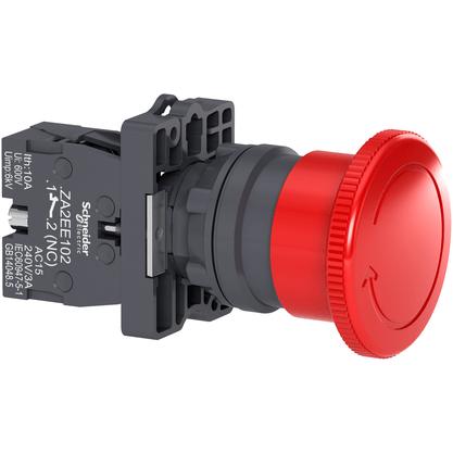 Botão 22mm Plástico Soco Emergência D40mm Girar Vermelho 1NF - XA2ES542 - Schneider-Electric
