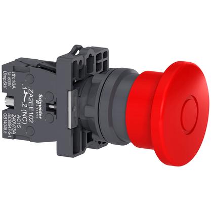 Botão 22mm Plástico Soco Emergência D40mm Empurrar Puxar Vermelho 1NF - XA2ET42 - Schneider-Electric