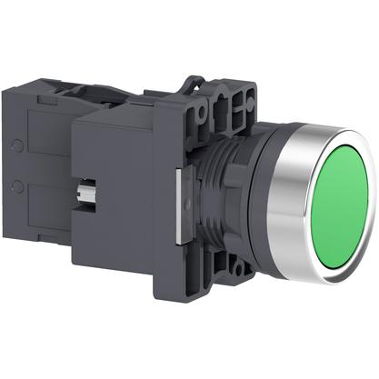 Botão 22mm Plástico Iluminado Led 24 CC/CA Verde 1NA - XA2EW33B1 - Schneider-Electric