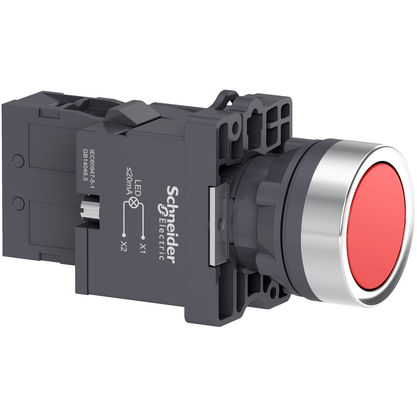 Botão 22mm Plástico Iluminado Led 220 VCA Vermelho 1NA - XA2EW34M1 - Schneider-Electric