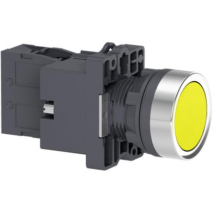 Botão 22mm Plástico Iluminado Led 24 CC/CA Amarelo 1NA - XA2EW35B1