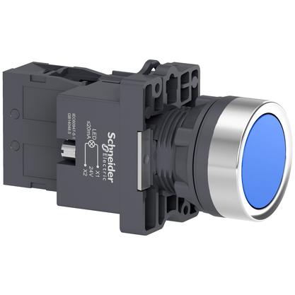 Botão 22mm Plástico Iluminado Led 24 CC/CA Azul 1NA - XA2EW36B1 - Schneider-Electric