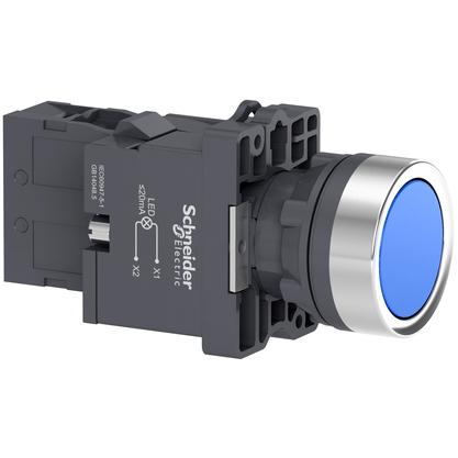 Botão 22mm Plástico Iluminado Led 220 VCA Azul 1NA - XA2EW36M1 - Schneider-Electric