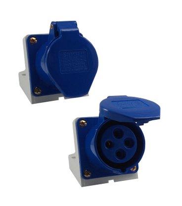 Tomada Industrial Sobrepor 4009/BC 16A 3P+T - 220/240V 9H - 5872 - Sibratec
