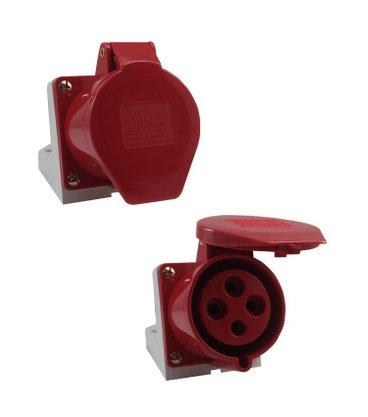Tomada Industrial Sobrepor 4206/BC 32A 3P+T - 380/440V 6H - 5390 - Sibratec