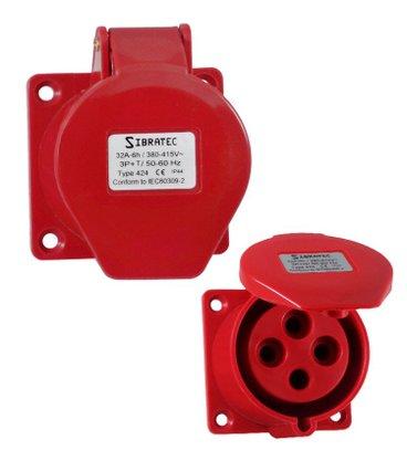 Tomada Industrial Embutir 4246/BC 32A 3P+T - 380/440V 6H - 8363 - Sibratec