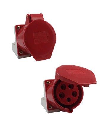 Tomada Industrial Sobrepor 5206/BC 32A 3P+T+N - 380/440V 6H - 5392 - Sibratec